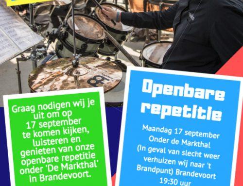17 september openbare repetitie in de Martkhal in Brandevoort!